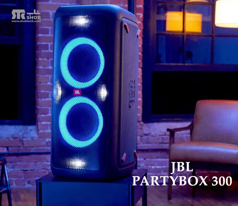پخش کننده موسیقی بلوتوثی قابل حمل با رقص نور جی بی ال مدل پارتی باکس PartyBox 300
